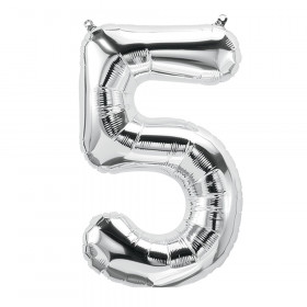 16In Foil Balloon Silver Number 5