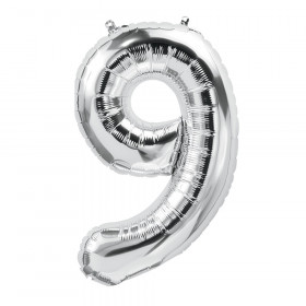 16In Foil Balloon Silver Number 9