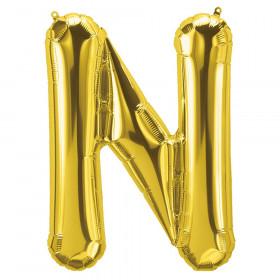 """16"""" Foil Balloon, Gold Letter N"""