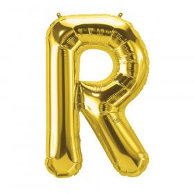 """16"""" Foil Balloon, Gold Letter R"""