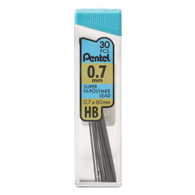 Pentel HB Super Hi-Polymer Leads, 0.7mm, Black, 30 leads