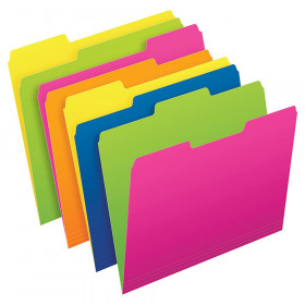 Twisted Glow File Folders, Letter Size, Assorted Colors, 1/3 Cut, Pack of 12