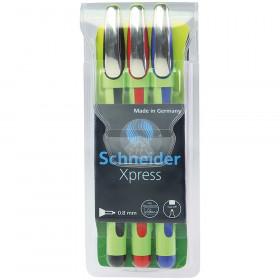 Xpress Fineliner Pen, Fiber Tip, 0.8 mm, 3-Color Assortment (Black, Red, Blue)