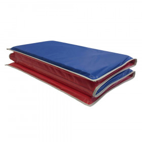 "Basic KinderMat, 1"" Thick, Red/Blue with Gray Binding"