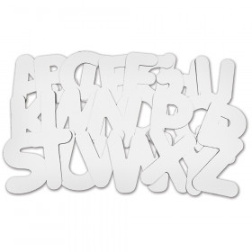"Uppercase Collage Letters, 9"" Tall, White, 26 Count"