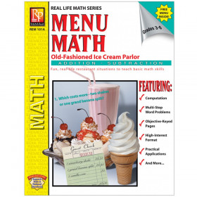 Menu Math: Old-Fashioned Ice Cream Parlor Book, Addition & Subtraction