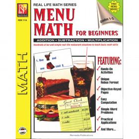 Menu Math for Beginners Book, Grades 1-3
