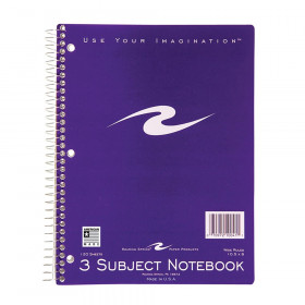 Spiral Notebook, 3-Subject, 120 pages