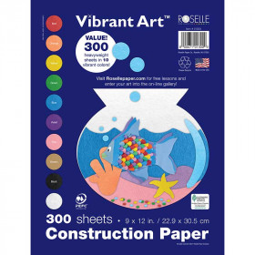 Roselle Super Value 300Pk Vibrant Art Construction Paper Pack