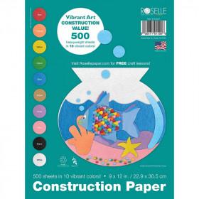 Roselle Super Value 500Pk Vibrant Art Construction Paper Pack