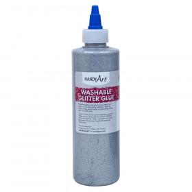 Washable Glitter Glue, 8 oz., Silver
