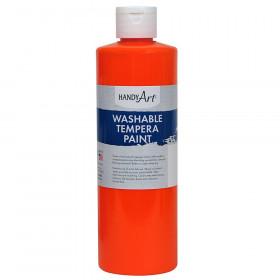 Little Masters Washable Tempera Paint, Fluorescent Orange, 16 oz.