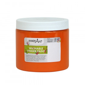Handy Art by Rock Paint Washable Finger Paint, Orange, 16 oz