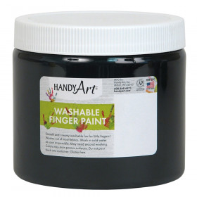 Handy Art by Rock Paint Washable Finger Paint, Black, 16 oz