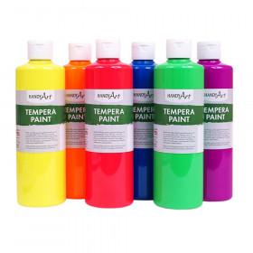 Tempera Paint, Pint, Fluorescent 6-Color Set