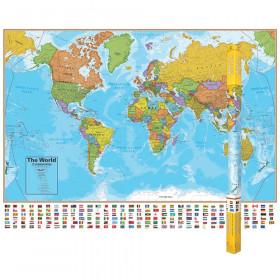"Hemispheres Blue Ocean Series World Laminated Wall Map, 38"" x 51"""