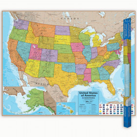 "Hemispheres Blue Ocean Series USA Laminated Wall Map, 38"" x 48"""