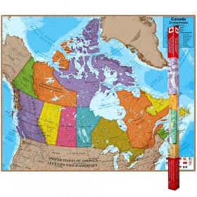 "Hemispheres Laminated Map, Canada, 47"" x 38"""