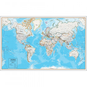Hemispheres Contemporary Laminated Wall Map, World