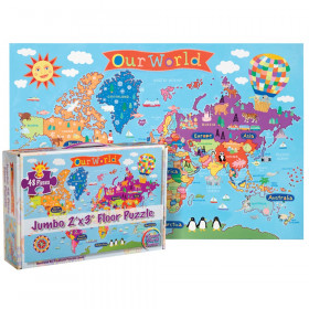 "World Floor Puzzle for Kids, 24""H x 36""L, 48 Pieces"