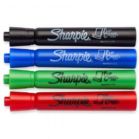 Sharpie Flip Chart Markers, Asstd Colors, 4/pkg
