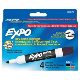 Low Odor Dry Erase Markers, Bullet Tip, Asstd Colors, 4 Per Pack