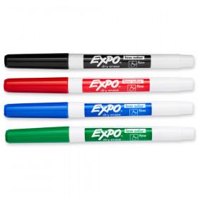 Low Odor Dry Erase 4 Color Marker Set Fine