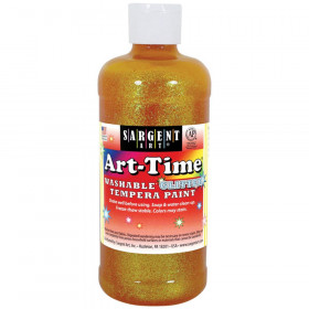 Art-Time Washable Glitter Tempera, 16 oz., Yellow