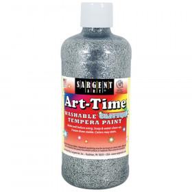 Art-Time Washable Glitter Tempera, 16 oz., Silver