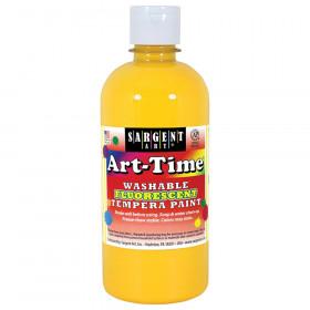 Art-Time Washable Fluorescent Yellow Tempera Paint, 16oz
