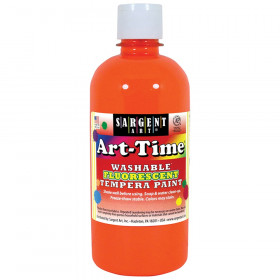 Art-Time Washable Fluorescent Orange Tempera Paint, 16oz