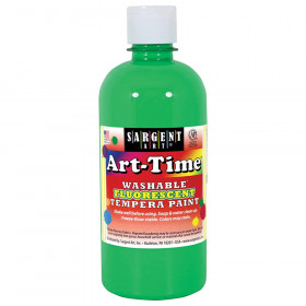 Art-Time Washable Fluorescent Green Tempera Paint, 16oz