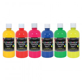 Art-Time Neon Tempera Paint, 16 oz. Bottles, 6 Assorted Neon Colors