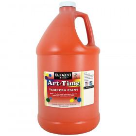 Art-Time Tempera Paint, Orange, Gallon