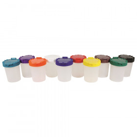 No-Spill Cups, Assorted Lid Colors, Pack of 10