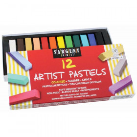 Artist Square Chalk Pastels, Assorted, 12 Per Pack