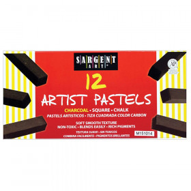 Artist Square Chalk Pastels, Charcoal, 12 Per Pack