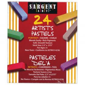 Artist Square Chalk Pastels, Portrait Colors, 24 Per Pack