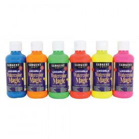 Washable Watercolor Magic Paint, 8 oz. Bottles, 6 Fluorescent Colors