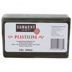 Plastilina Non-Hardening Modeling Clay, 2 lbs., Brown