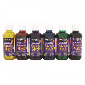 Washable Watercolor Magic Paint, 8 oz. Bottles, 6 Glitter Colors
