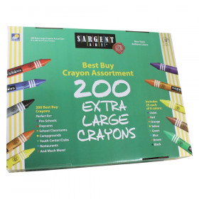 Extra Large Size (Big Ones) Crayons Best-Buy Assortment, 8 Colors, 200 Count