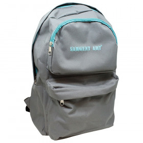 Economy backpack, 2 pocket front, gray/teal zipper