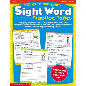 100 Write And Learn Sight Word Practice Pages, Grades K-2