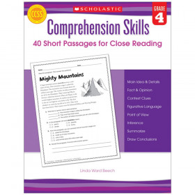 Comprehension Skills: Short Passages for Close Reading Book, Grade 4