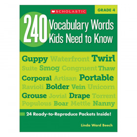 240 Vocabulary Words..Kids Need to Read Book, Grade 4