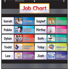 Scholastic Class Job Pocket Chart with Cards, Black