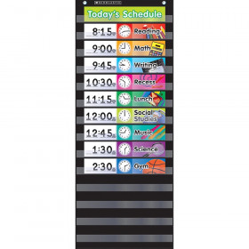 Daily Schedule Pocket Chart with Cards, Black