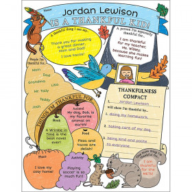 Personal Poster Set Im Thankful Kid Gr 3-6