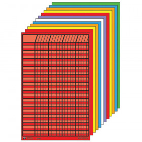 """Small Vertical Incentive Chart Set, 14"""" x 22"""", Assorted Color, Pack of 12"""